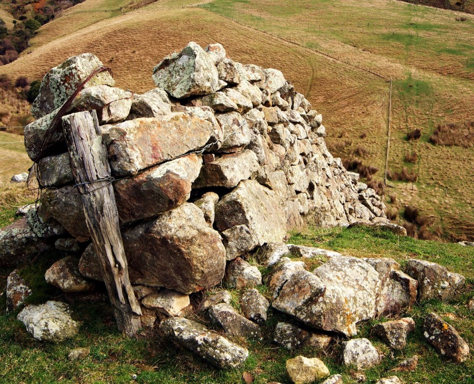Stone wall remnant near the Hunter family house