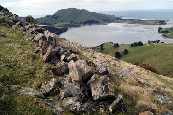 Columnar Basalt on Harbour Cone Summit was part of the Dunedin volcano