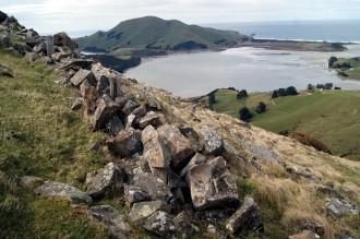 Stone wall below summit